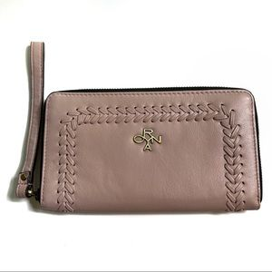 OrYANY Pink Braided Leather Zip Around Wallet